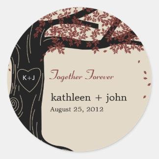 Oak Tree Wedding Favor Sticker Round Stickers