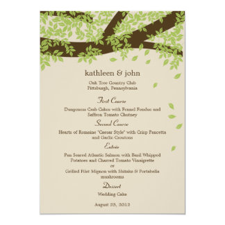Oak Tree Wedding Menu Card