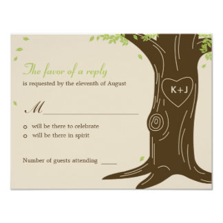 Oak Tree Wedding RSVP / Response Card 11 Cm X 14 Cm Invitation Card