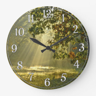 Oak Tree with Morning Sunbeams Wall Clock