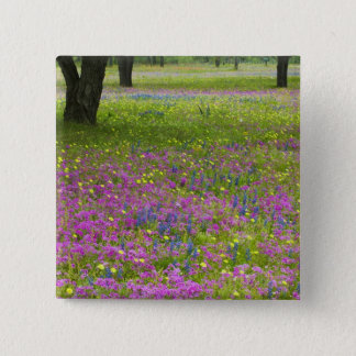 Oak Trees with field of Phlox, Blue Bonnets 15 Cm Square Badge