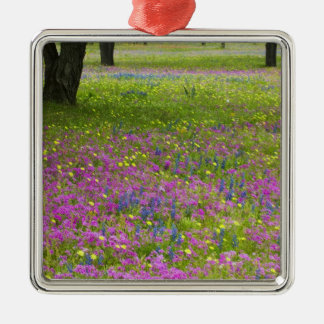 Oak Trees with field of Phlox, Blue Bonnets Christmas Ornament