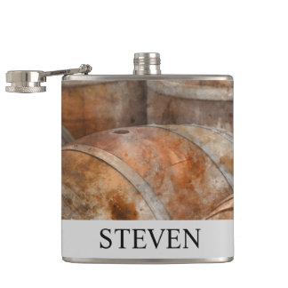 Oak Wine Barrel Peronalized Flask for Groomsman