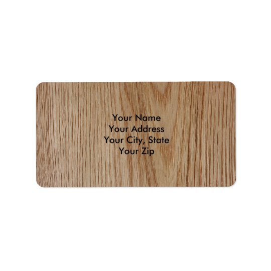 Oak Wood Grain Look Address Label