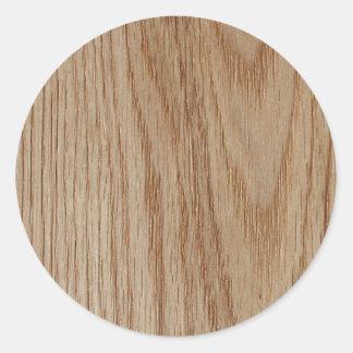 Oak Wood Grain Look Round Sticker