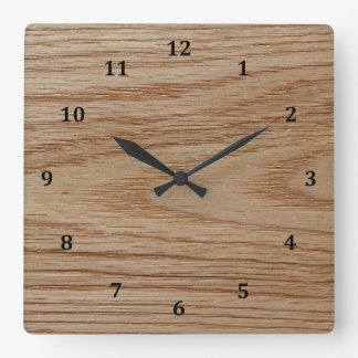 Oak Wood Grain Look Square Wall Clock