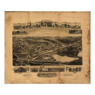 Oakdale Massachusetts 1891 Antique Panoramic Map Poster