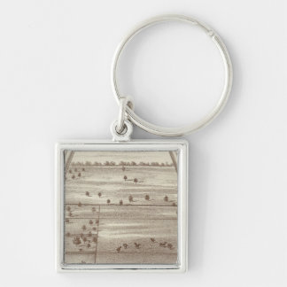 Oakdale Ranch Silver-Colored Square Key Ring