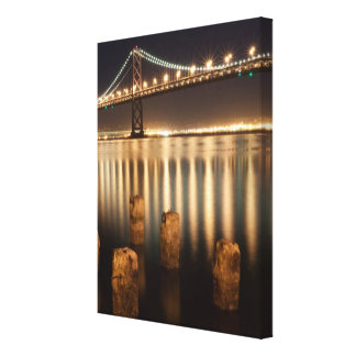 Oakland Bay Bridge night reflections. Canvas Print