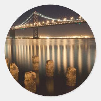 Oakland Bay Bridge night reflections. Classic Round Sticker