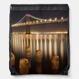 Oakland Bay Bridge night reflections. Drawstring Bag