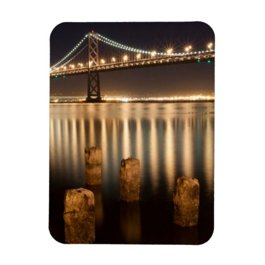 Oakland Bay Bridge night reflections. Rectangular Photo Magnet