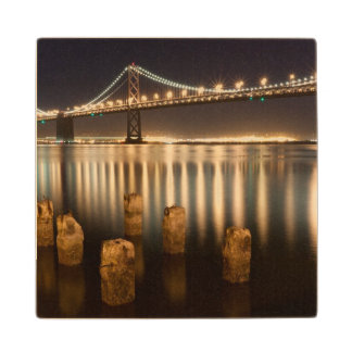 Oakland Bay Bridge night reflections. Wood Coaster