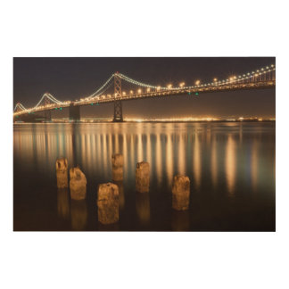 Oakland Bay Bridge night reflections. Wood Wall Art