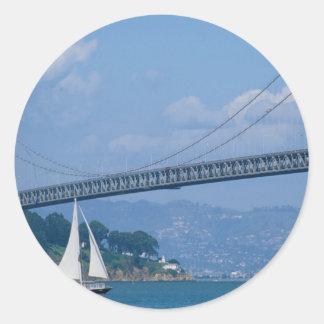 Oakland Bay Bridge with sailboat, San Francisco, C Round Sticker