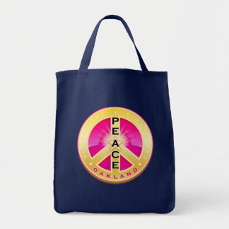 Oakland California Peace Grocery Bag, pink on navy