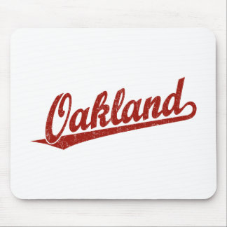 Oakland script logo in red distressed mouse pad