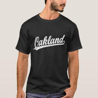 Oakland script logo in white distressed T-Shirt
