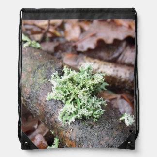Oakmoss Lichen On Fallen Tree Branch Drawstring Backpack
