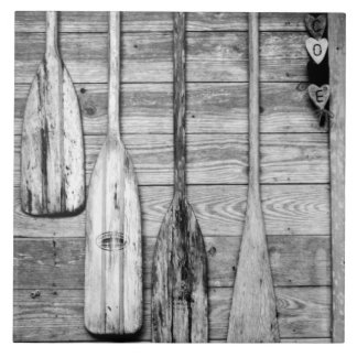 Oars are hung on wooden shed in Big Cypress, 2 Large Square Tile