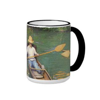 Oarsmen by Caillebotte, Vintage Impressionism Art Ringer Mug