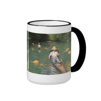 Oarsmen by Caillebotte, Vintage Impressionism Art Ringer Coffee Mug