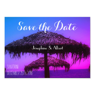 Oasis Santorini Beach Wedding Save the Date Card