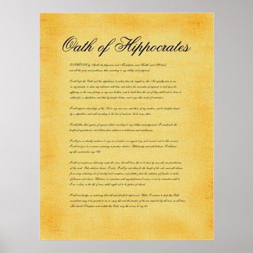 Oath of Hippocrates, canvas parchment look Print