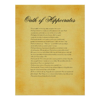 Oath of Hippocrates, canvas parchment look Posters