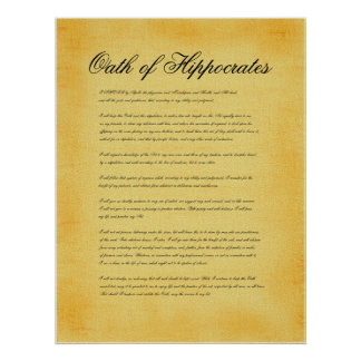 Oath of Hippocrates canvas parchment look Print
