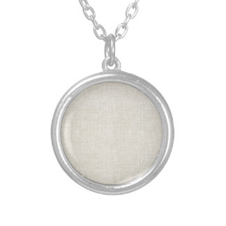 Oatmeal Tan Faux Linen Fabric Textured Background Personalized Necklace