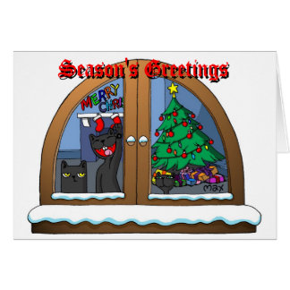 oatSNOWonWINDOWchristmasCARD Card