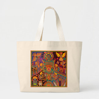 Oaxaca Mexico Mexican Mayan Tribal Art Boho Travel Jumbo Tote Bag