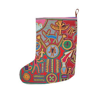 Oaxaca Mexico Mexican Mayan Tribal Art Boho Travel Large Christmas Stocking