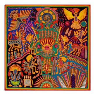 Oaxaca Mexico Mexican Mayan Tribal Art Boho Travel Poster