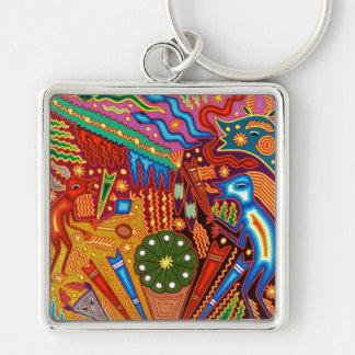 Oaxaca Mexico Mexican Mayan Tribal Art Boho Travel Silver-Colored Square Key Ring