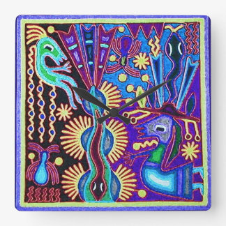 Oaxaca Mexico Mexican Mayan Tribal Art Boho Travel Square Wall Clock