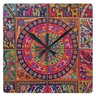Oaxaca Mexico Mexican Mayan Tribal Art Boho Travel Square Wall Clock