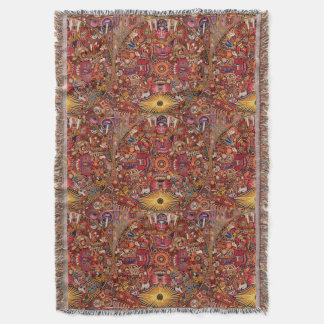 Oaxaca Mexico Mexican Mayan Tribal Art Boho Travel Throw Blanket
