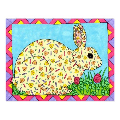 Oaxacan Bunny in Clover Post Card