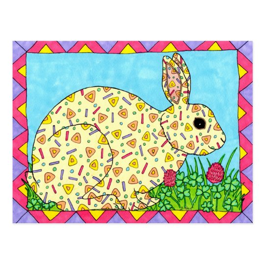 Oaxacan Bunny in Clover Postcard