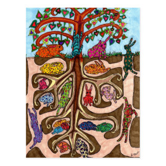 Oaxacan Bunny Tree of Life Postcard