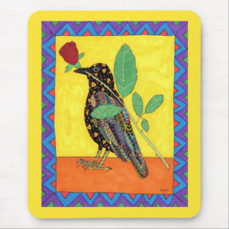 Oaxacan Crow & Red Rose Mexican Folk Art Mouse Mat