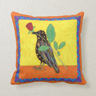 Oaxacan Crow & Red Rose Mexican Folk Art Throw Pillow