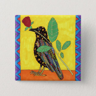 Oaxacan Crow with Red Rose 15 Cm Square Badge