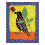 Oaxacan Crow with Red Rose Print