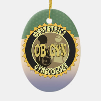 OB/GYN BADGE FEMALE DOCTOR LOGO CHRISTMAS ORNAMENT