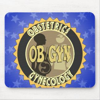 OB GYN BADGE FEMALE DOCTOR LOGO MOUSEPADS