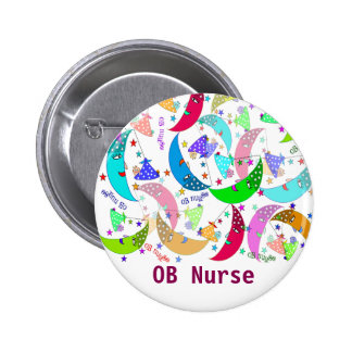 OB Nurse Name Button Moons and Babies Art