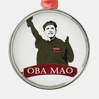 OBA MAO Obama + Statue of Liberty Parody Silver-Colored Round Decoration